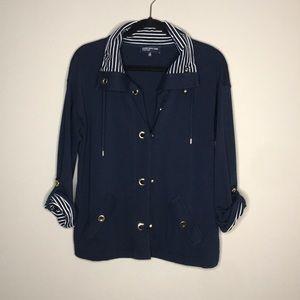 Jones New York Nautical snap navy jacket size M